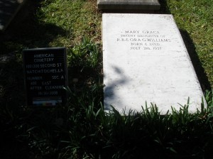 Mary Grace Williams grave after cleaning